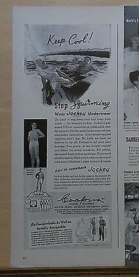 1940 magazine ad for Jockey underwear - Stop Squirming! happy sailors boating