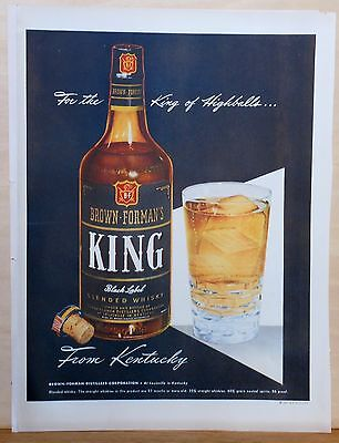 1947 magazine ad for Brown-Forman's King Whiskey - King of Highballs, colorful