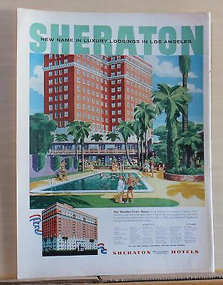 1955 magazine ad for the Sheraton-Town House hotel in Los Angeles CA - Luxury