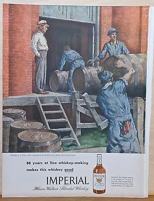 1946 magazine ad for Imperial Whiskey - on its way to age, Paul Sample artwork