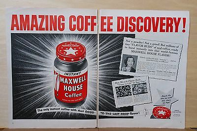1953 magazine ad for Maxwell House Instant Coffee-Amazing Discovery! Coffee Buds