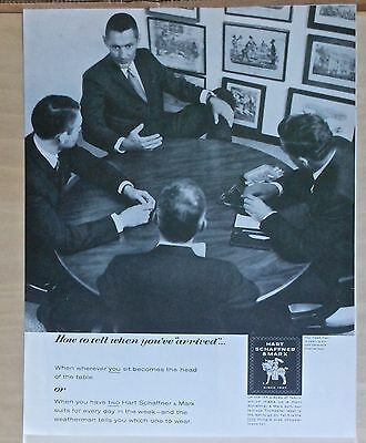 1962 magazine ad for Hart Schaffner Marx, Men in suits discuss business in photo