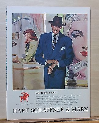1948 magazine ad for Hart Schaffner & Marx - Tom Hall art, How to Buy a Suit