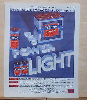 1930 magazine ad for Eveready Packaged Electricity - Batteries for radio, light