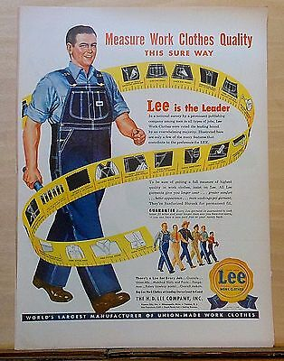 1948 magazine ad for Lee Work Clothes - Measure Work Clothes Quality Sure Way