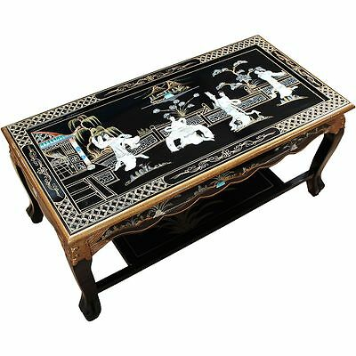 Black Lacquered with Mother of Pearl Coffee Table Chinese Oriental Furniture Art