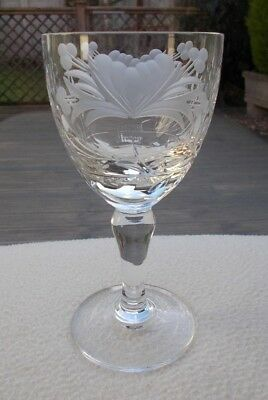 "Royal BRIERLEY Crystal ~ HONEYSUCKLE ~ 5 7/8"" Wine Glass ~ Signed"