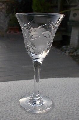 "Royal BRIERLEY Crystal ~ Fuchsia ~ 4 1/4"" Liqueur / Cordial Glass ~ Signed"