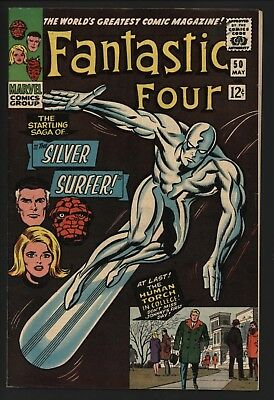 Fantastic Four #50 Classic Surfer Cover Vs Galactus Stunning 8.5 White Pages