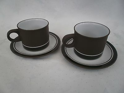 HORNSEA POTTERY set of 2 TEA/COFFEE CUPS AND SAUCES CONTRAST 1970's VGC