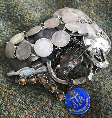 A Selection Of Mostly silver Metal Detecting Finds. Watch Cases Coin Bracelet ..