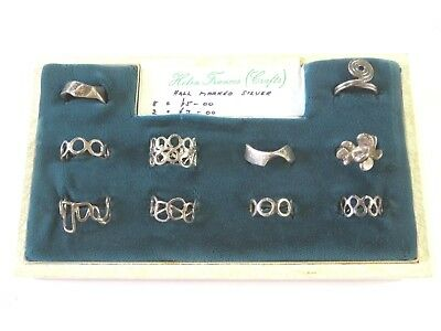 Ex Shop Stock - A Tray Of Vintage 1960's 1970's Sterling Silver Modernist Rings