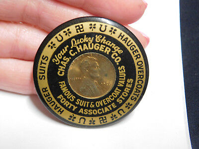 Chas. C. Hauger Co. Indianapolis 1926 Penny Celluloid Advertising Pocket Mirror