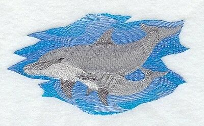 Embroidered Long-Sleeved T-Shirt - Dolphin and Baby M2271 Sizes S - XXL