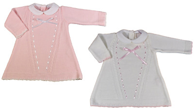 Baby girl knitted dress ribbon BOW Spanish style long sleeve