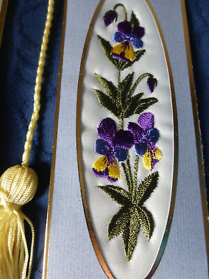 Vintage Silk Hand-Embroidery Book-Mark Pictures,  Beautiful Flowers X 2