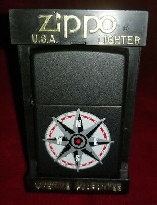 Zippo Slim Never Used 1996 Compass Nautical Lighter New in Display Box Black