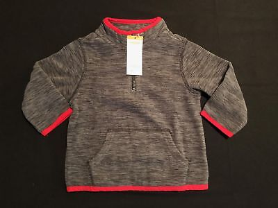 NWT Gymboree Boys Gray w/ Red Marled Fleece Pullover Jacket Size 12-24 M