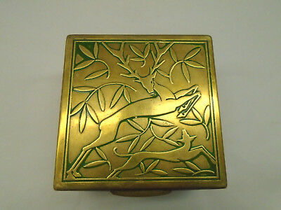 Lovely Antique / Vintage Arts & Crafts Brass Box - Danish? -Stag /Hunting Design