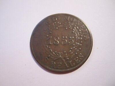 1855 Argentina Two Reales Coin, Nice Brown, No Reserve, Free Ship