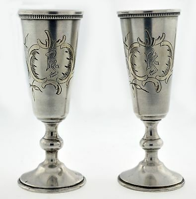 Set Of 2 Russian Silver Vermeil Hand Engraved Floral Footed Cordial Shot Glasses
