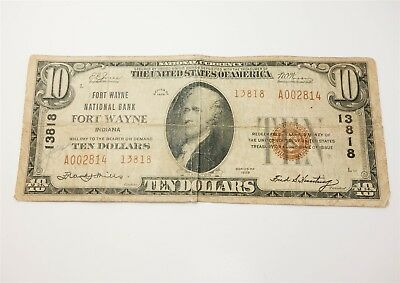 $10 US Series 1929 National Currency Fort Wayne National Bank w Charter Number