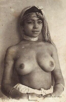 """Beautiful nude Indian woman, antique early 1900's photo, 17""""x11"""""""