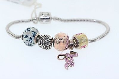 Persona Sterling Silver Charm Bracelet With 5 Beads Pink Navy Fl