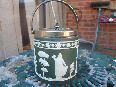 Antique Green Jasper Ware Dip Biscuit Barrell Wedgwood Style