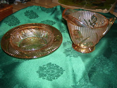 Pair of Vintage Jeanette Glass Iris and Herringbone Carnival Dish and Creamer