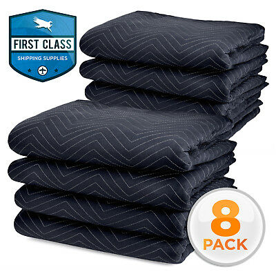 """8 Pk 80"""" x 72"""" Moving Blankets 35 lb/dz Quilted Shipping Furniture Pads Bl/Blk"""