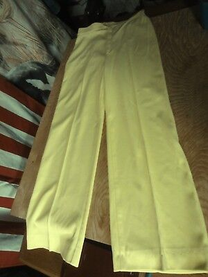 Vtg 70s Jack Winter YELLOW flare High rise BELL BOTTOM stretch disco PANTS 10-12