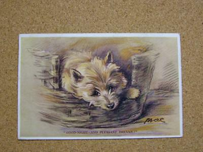 "1933 Valentines Tailwagger Series Postcard ""Good-night"" No2385 by Mac"