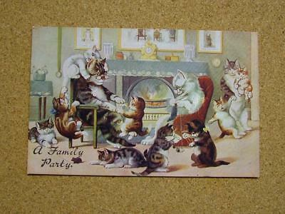 "1900s Louis Wain Cats Academy Series Postcard ""A Family Party""."