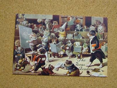 "1900s Louis Wain Dogs Academy Series Postcard ""In Class""."