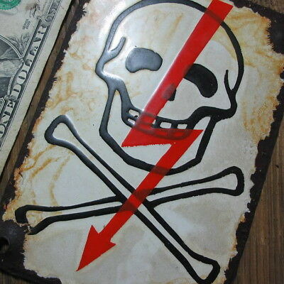 100% ORIGINAL - Porcelain Sign 1939-1945, WWII, Danger, Skull & Crossbones No 03