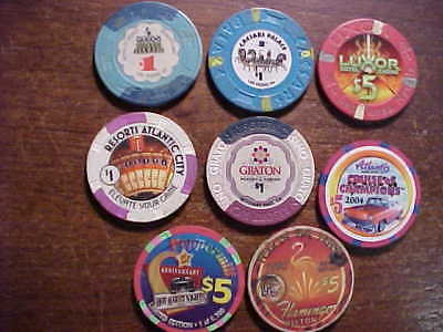 8 different Casino tablegame chips. $24 face value