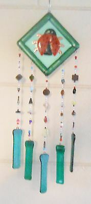 fused stained glass  wind chime hand made crafted