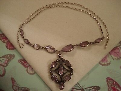 Beautiful Art Nouveau Inspired; Amethyst Gems Sterling Silver Pendant Necklace