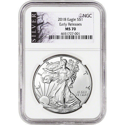 2018 American Silver Eagle - NGC MS70 - Early Releases - ALS Label