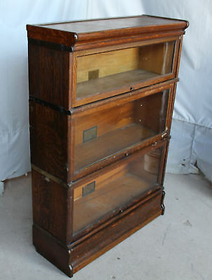 Antique Oak Sectional Bookcase – Globe Wernicke 3 sections