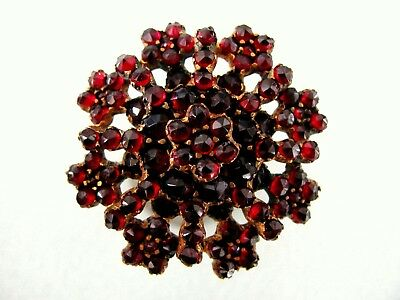 Antique Victorian Gold Wash Plated Rose Cut Deep Red Garnet Snowflake Brooch