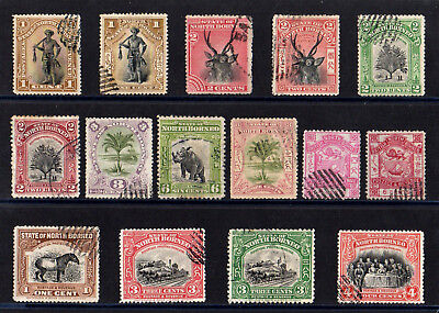 North Borneo 1886 - 1909 Collection Of 15 Stamps Good Used High Cat. £