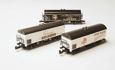 8125 Marklin Z-scale French Winery and distill 3 box car set, excl USA,France,CN