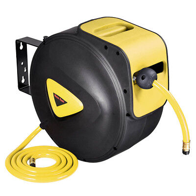 "65'x3/8"" Retractable Auto Rewind Hose Reel Wall Mount Tool Air Compressor"