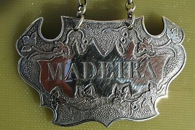 Antique Georgian Sterling silver Escutcheon shaped MADEIRA wine label, 1817, IT