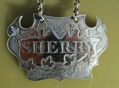 Antique Georgian Sterling silver Escutcheon shaped SHERRY wine label, 1810, IT