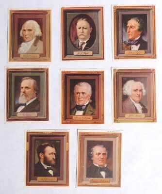 P029 Vintage Lot of 8: PORTRAITS OF THE PRESIDENTS Cards Kellogg's (1946) [