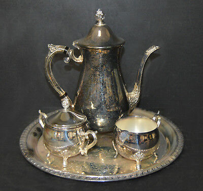 VINTAGE Leonard Silverplate Tea Set, Sugar Creamer & Teapot with ...