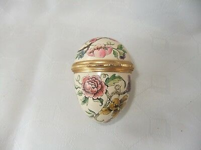 VINTAGE BILSTON & BATTERSEA HALCYON DAYS ENAMEL EGG BOX WITH FLOWERS - C. 1970's